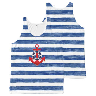 Nautical Sailing inspired All-Over-Print Tank Top