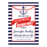"Nautical Sailor Anchor Bunting Surprise Birthday 5"" X 7"" Invitation Card"