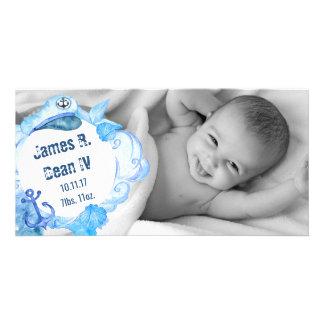 Nautical Sailor Baby Announcement Photo Card