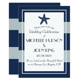 Nautical Sailor Beach Starfish Wedding Invitations