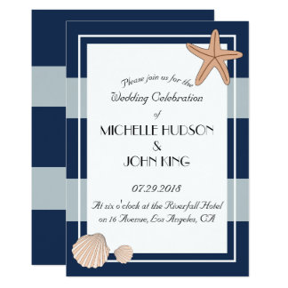Nautical Sailor Beach Stripes Wedding Invitations
