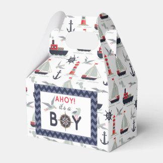 Nautical Sailor Boats Ahoy Baby Boy Shower Party Wedding Favor Box