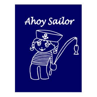 Nautical Sailor Girl Postcard