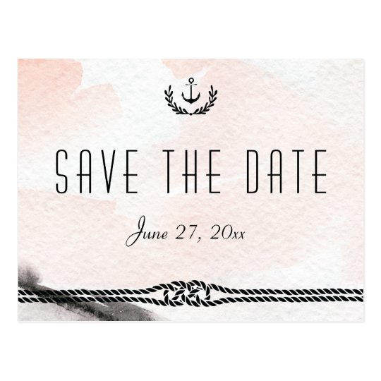 Nautical Save The Date Postcards Watercolor Peach