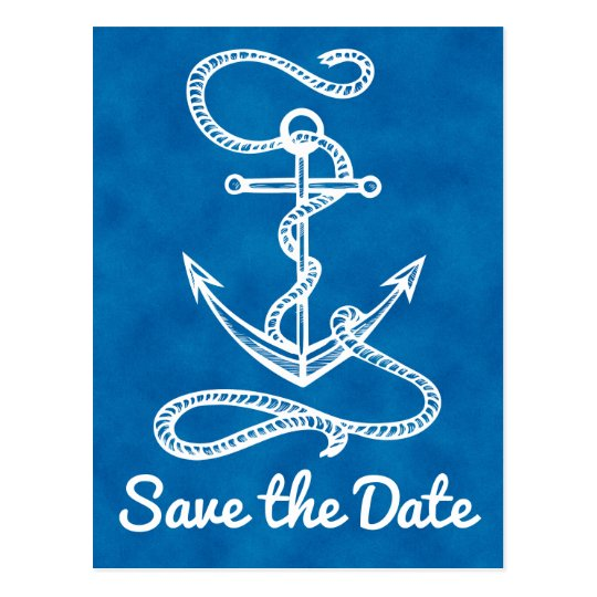 Nautical Save the Date Ship Anchor Blue Wedding Postcard