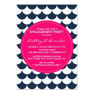 Nautical Scallop Pattern Engagement Invitation