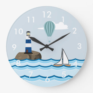 Nautical Scene with Lighthouse and Sailboat Large Clock