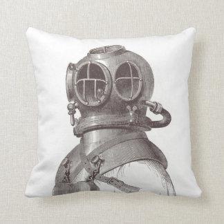 Nautical Scuba Guy Funky Black and White Pillow