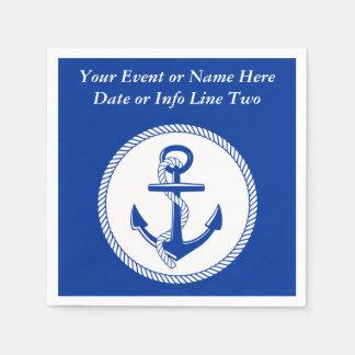 Nautical Sea Blue Boat Anchor Roping Custom #2 Disposable Napkins