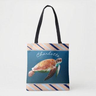 Nautical Sea Turtle Custom Name Tote Bag