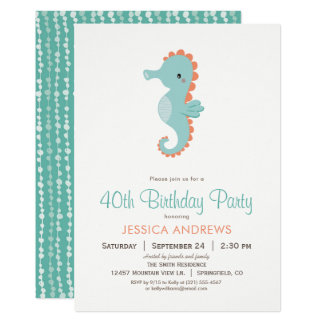 Nautical Seahorse Birthday Party Invitation