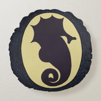 Nautical Seahorse Round Pillow