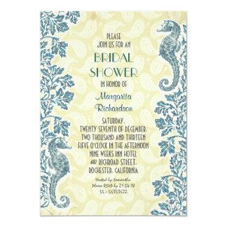nautical seahorses bridal shower invitation