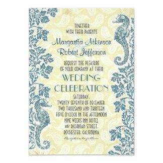 nautical seahorses wedding invitations