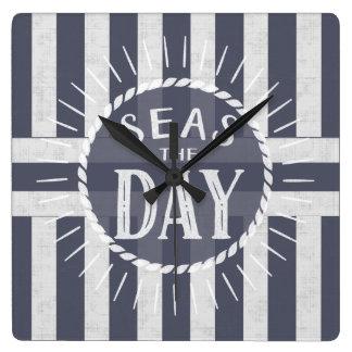 Nautical Seas the Day Carpe Diem Theme Striped Square Wall Clock