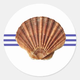 Nautical Seashell - Circle Sticker