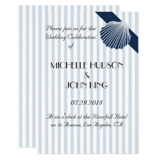 Nautical Seashell Striped Wedding Invitations