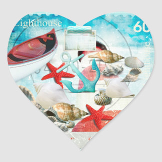 Nautical Seashells Anchor Starfish Beach Theme Heart Sticker