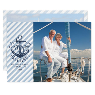 Nautical SEAson's Greetings, Message/Photo on Back Card