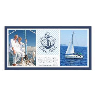 Nautical SEAson's Greetings - Navy & White Stripes Card