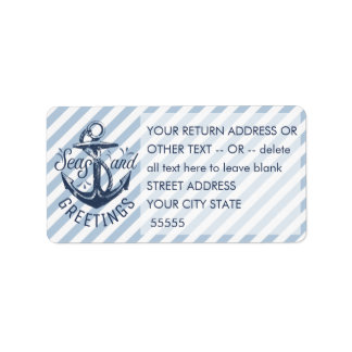 """Nautical """"SEASon's Greetings"""" Navy/White Stripes Label"""