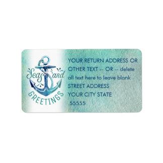 """Nautical """"SEAson's Greetings"""" Watercolor Label"""
