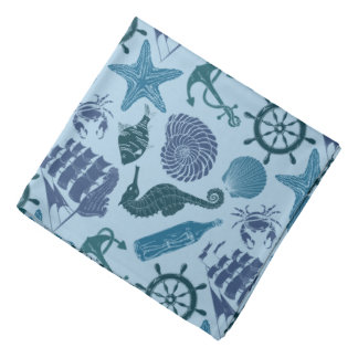 Nautical Shades Of Blue Pattern Bandanna
