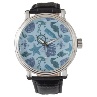 Nautical Shades Of Blue Pattern Wristwatch