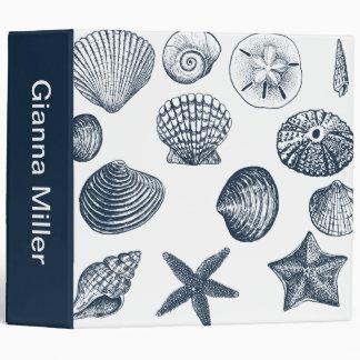 Nautical shells 3 ring binders