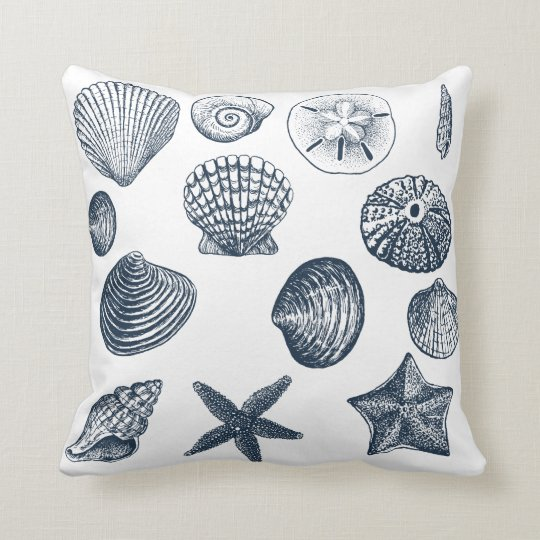 Nautical Shells Throw Pillow