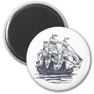 Nautical Ship 2 Inch Round Magnet