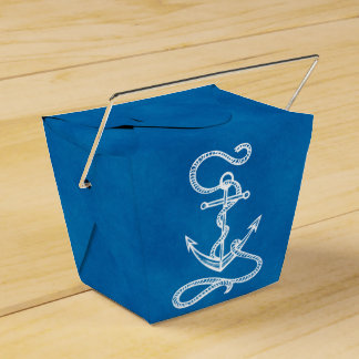 Nautical Ship Anchor Blue Beach Wedding Party Favor Box