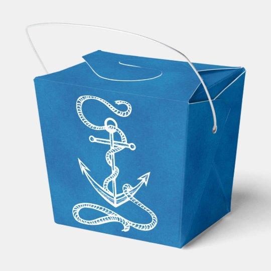 Nautical Ship Anchor Blue Beach Wedding Party Party Favor Box