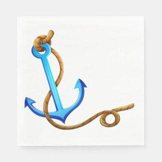 Nautical Ship Anchor Blue Turquoise Wedding Party Paper Napkin