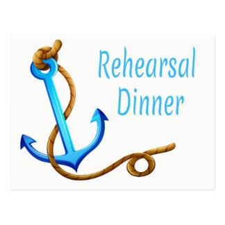Nautical Ship Anchor Blue Turquoise Wedding Party Postcard
