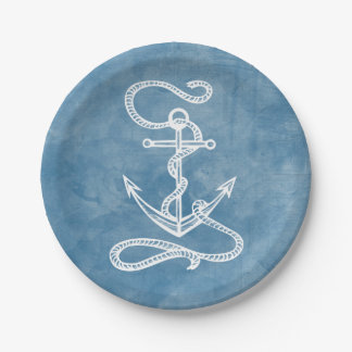 Nautical Ship Anchor Blue Watercolor Wedding Beach Paper Plate