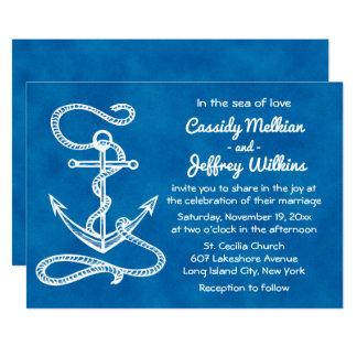 Nautical Ship Anchor Blue Watercolor Wedding Card