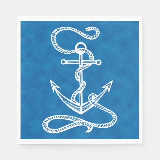 Nautical Ship Anchor Blue Watercolor Wedding Disposable Napkin