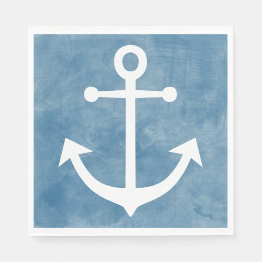Nautical Ship Anchor Blue Watercolor Wedding Paper Napkin