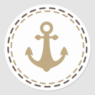 Nautical Ship Anchor Brown and Tan - Sailor, Ocean Classic Round Sticker