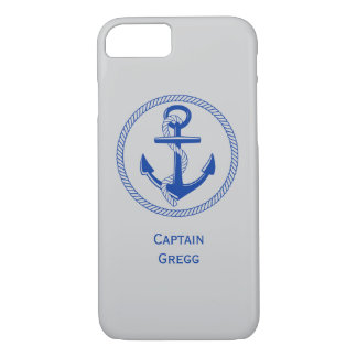 Nautical Ship Anchor Custom Color Name Monogram iPhone 7 Case