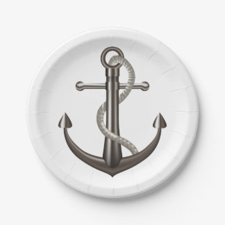 Nautical Ship Anchor Gray Wedding Beach Paper Plate