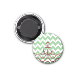 Nautical Ship Anchor Mint Chevron Pattern Magnet
