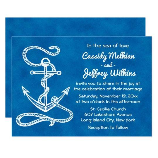 Nautical Ship Anchor Navy Blue Watercolor Wedding Card