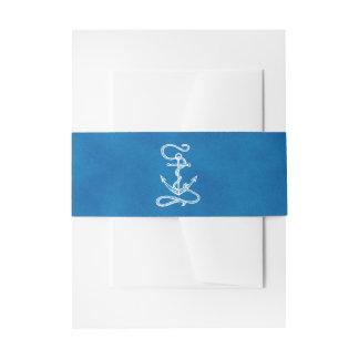 Nautical Ship Anchor Navy Blue Watercolor Wedding Invitation Belly Band