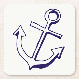Nautical Ship Anchor Navy Blue Wedding Party Square Paper Coaster