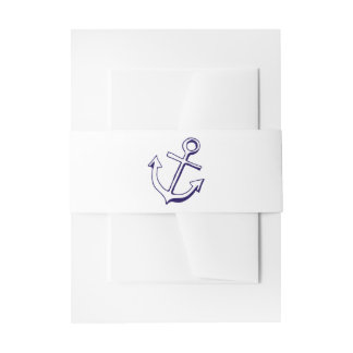 Nautical Ship Anchor Navy Blue Wedding Sailor Invitation Belly Band