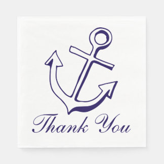 Nautical Ship Anchor Navy Blue Wedding Thank You Disposable Napkin