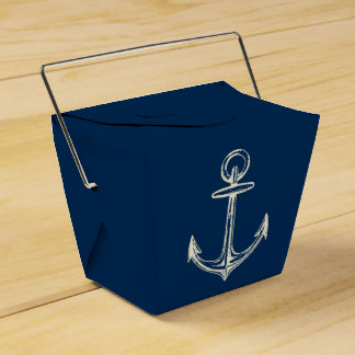 Nautical Ship Anchor Navy Blue & White Vintage Wedding Favor Boxes