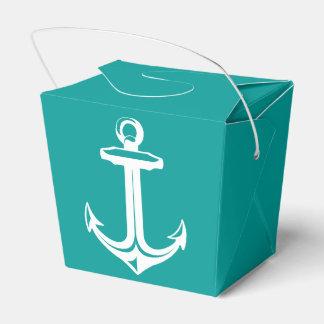 Nautical Ship Anchor Teal Beach Wedding Party Party Favor Box